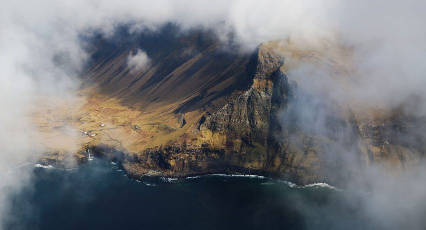 Sky view of foggy Gásadalur of the Faroe Islands